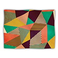 Kess InHouse Louise Machado 'Geometric Love II' Orange Green Dog Blanket, 40 by 30-Inch