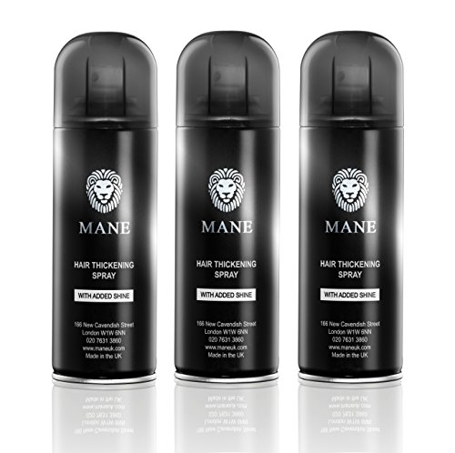 Mane America Hair Thickening Spray with Added Shine 3 Cans (Jet Black) ()