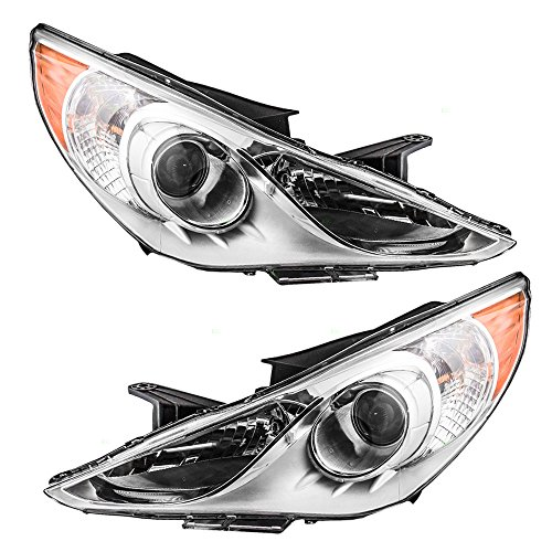 Headlights Headlamps with Bright Chrome Housing Driver and Passenger Replacements for 11-13 Hyundai Sonata 921013Q000 -