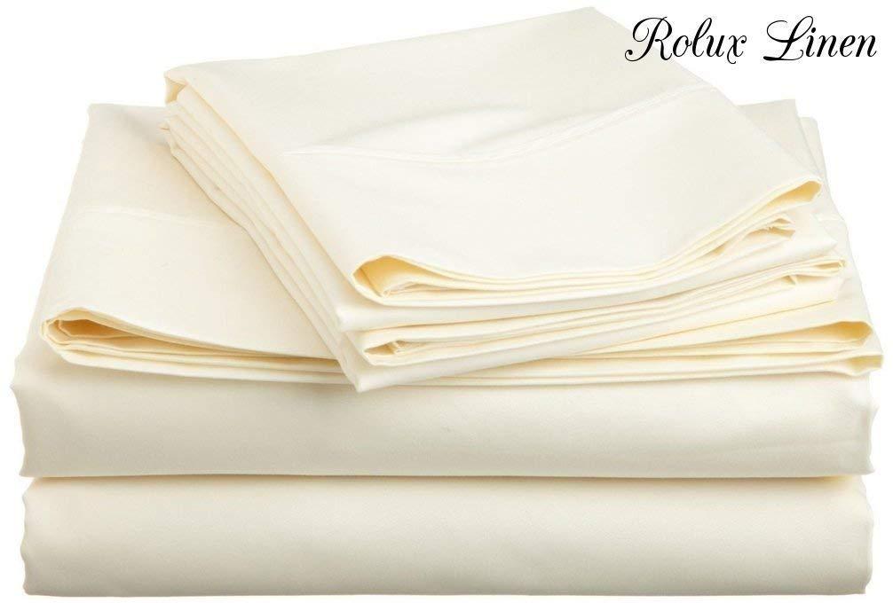 Amazon.com: Rolux Linen Queen Sleeper Sofa Bed Sheet Set   White