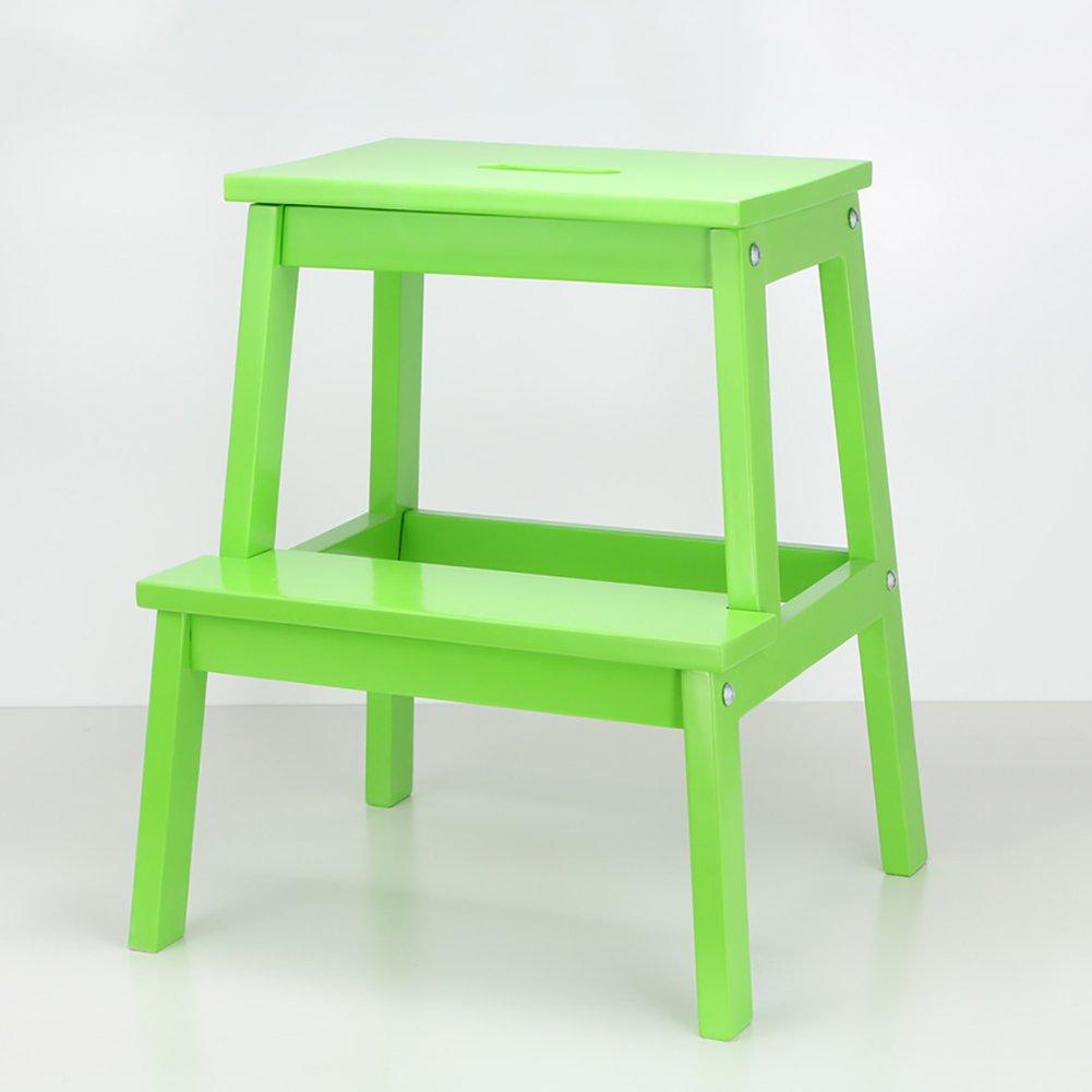 vert  Tabourets d'étape LSX échelles en bois portatives petits tabourets de pied tabouret en bois de cuisine pour adultes et enfants oyo (Couleur   bleu)