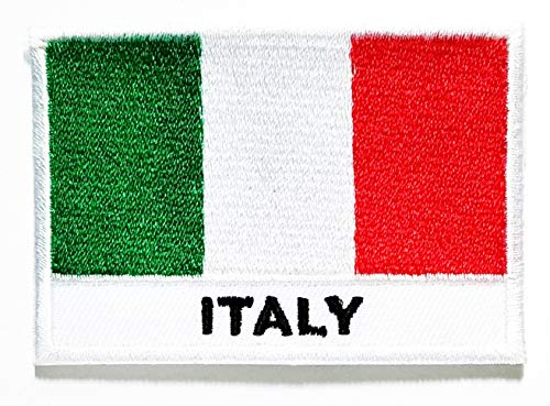 Nipitshop Patches Italy Flag Country Symbol Patch National Emblem Iron On Sew On Patch Applique for Clothes Jackets T-Shirt Jeans Skirt Vests Scarf Hat Backpacks