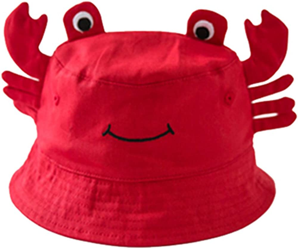 Peigee Crab Pattern Unisex Baby Wide Brim Bucket UV Sun Protection Hat Toddler Baby Caps Hats