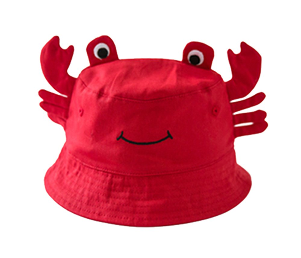 Peigee Crab Pattern Unisex Baby Wide Brim Bucket UV Sun Protection Hat Toddler Infant Baby Summer Fisherman's Caps Hats 2-4 Years Old (52cm)
