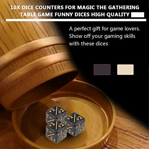 ukYukiko 10x Dice Counters For Magic The Gathering Table Game Funny Dices
