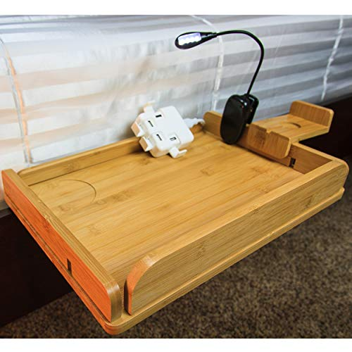 MintCreek Bed Shelf 2.0 | Bedside Organizer | Optimized for Device Charging | Removable Sides | 10 Power Cord Slots | for Bedside Shelf Storage, College Dorm Rooms, Bunk Beds (USB Bonus) ()