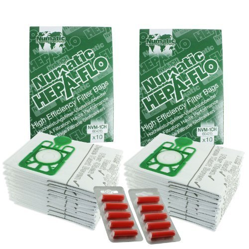 Henry Numatic Hetty Etc Hepa Flo Vacuum Cleaner Dust Bags Pack Of 20 10 Bag Freshener Sticks