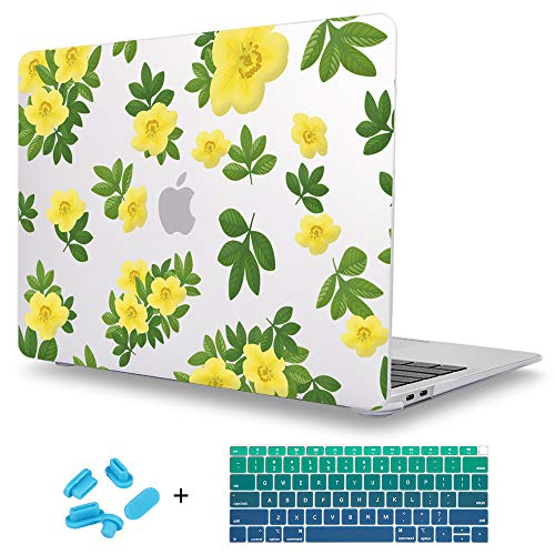 - Maychen MacBook Air 13 Inch Case 2019 Release A1932 with Touch ID Retina Display, Plastic Frosted Rubberized Matte Hard Shell, Small Yellow Flowers Pattern, Keyboard Cover and Dust Plug - Z452
