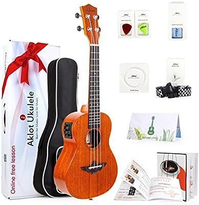 AKLOT 26 Electric ukulele Electric Acoustic Tenor Ukulele Solid Mahogany Ukelele 26