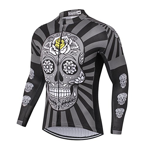 JPOJPO Long Sleeve Cycling Jersey Men, Mountain Bike Shirt Tops S-5XL - Breathable and Quick Dry