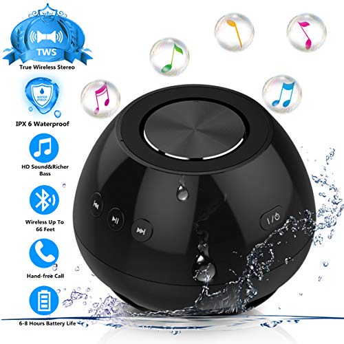 Bluetooth Speakers, Mix Hero IPX6 Waterproof Portable Bluetooth V4.2 Wireless Shower TWS Speaker with HD Sound and Bass, Built-in Mic for Pool Beach Home Party Travel Outdoors (Black)