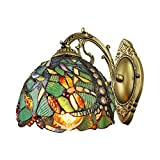 LITFAD Turquoise Dragonfly Wall Sconce Tiffany Style Stained Glass Wall Light 8