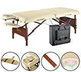 Master Massage 30'' Del Ray Therma Top Portable Massage Table Package Beauty Bed Built in Warming Pad, Sand