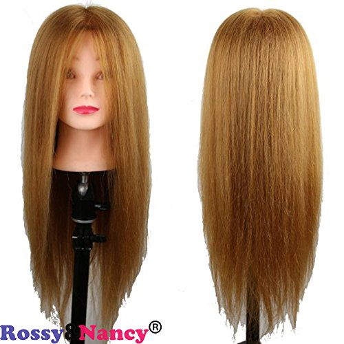 Rossy&Nancy 24inch Human and Synthetic Mixed Hair Cosmetology Training Mannequin Head Golden Brown Color