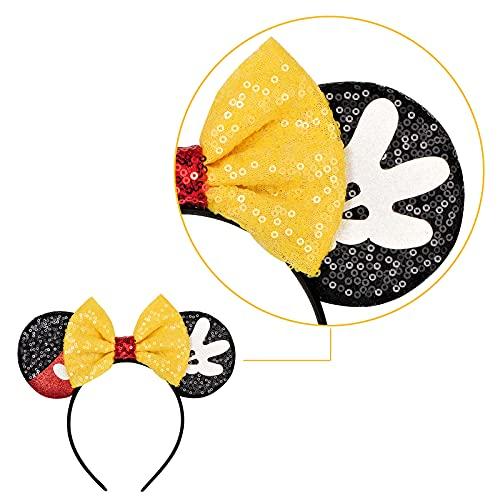 Eisyaa Mouse Ears Bow Headbands, Sequin Minnie Ears Headband Glitter Party Princess Decoration Cosplay Costume (Black-yellow)