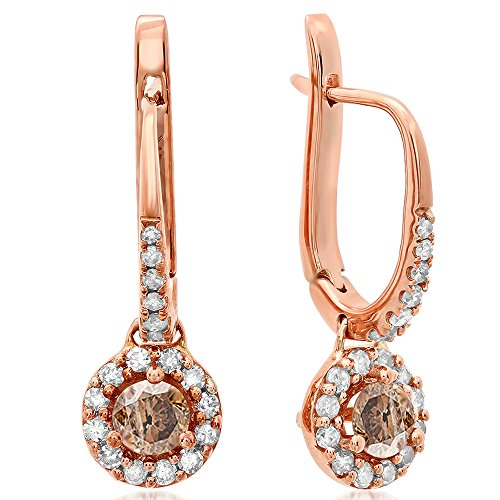 0.42 Carat (ctw) 14K Rose Gold Round Champagne & White Diamond Halo Style Dangling Drop Earrings by DazzlingRock Collection