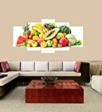 [LARGE] Premium Quality Canvas Printed Wall Art Poster 5 Pieces / 5 Pannel Wall Decor Fruits Painting, Home Decor Pictures - With Wooden Frame