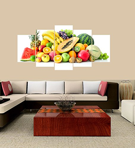 [LARGE] Premium Quality Canvas Printed Wall Art Poster 5 Pieces / 5 Pannel Wall Decor Fruits Painting, Home Decor Pictures - With Wooden Frame by PEACOCK JEWELS