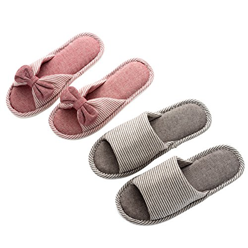 On Indoor Soft Casual Flax Bedroom for Home Cotton Slip Open Womens Slippers Toe Slipper Coffee Bowknot Mens 2 Pairs amp; wXx7zz