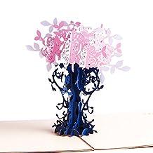Paper Spiritz Flower Tree Pop up Thanksgiving Card 3D Laser Cut Thank You Birthday Wedding Anniversary Cards Invitation for Women Girls Mom