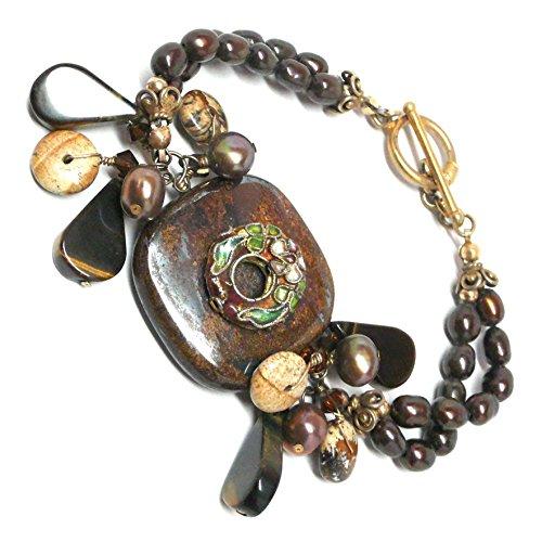 Tigeriron Boho Statement Bracelet Cloisonne Brown Cultured Pearls Cluster Drop OOAK