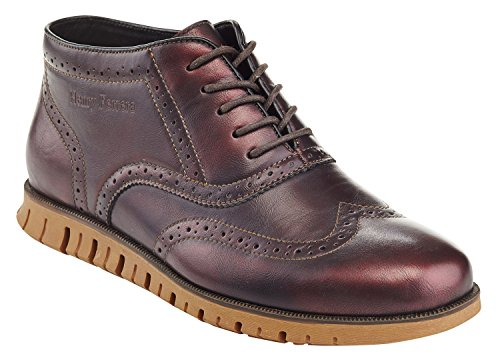 Henry Ferrera Mens Casual Wingtip Brogue Oxford Scarpe Vino