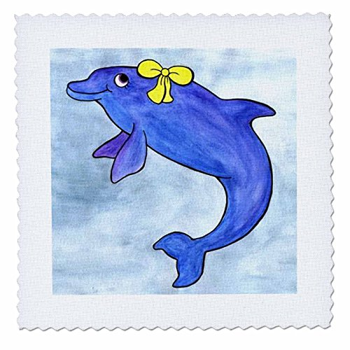 Whale Tail Gang - Daisy Bottlenosed Dolphin - 10x10 inch quilt square (qs_1099_1)