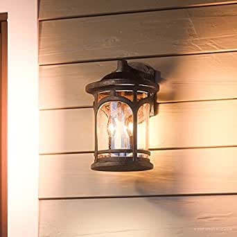 "Luxury Rustic Outdoor Wall Light, Medium Size: 14.5""H x 9""W, with Colonial Style Elements, Wrought Iron Design, Oil Rubbed Parisian Bronze Finish and Seeded Glass, UQL1103 by Urban Ambiance"