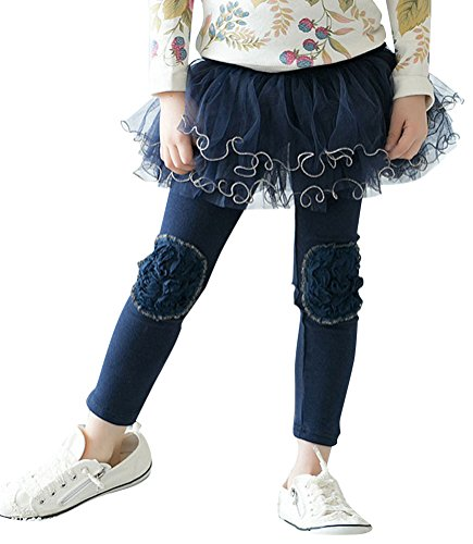 Infant Toddlers Knee Patch Tutu Skirt Leggings Pants Navy 3T