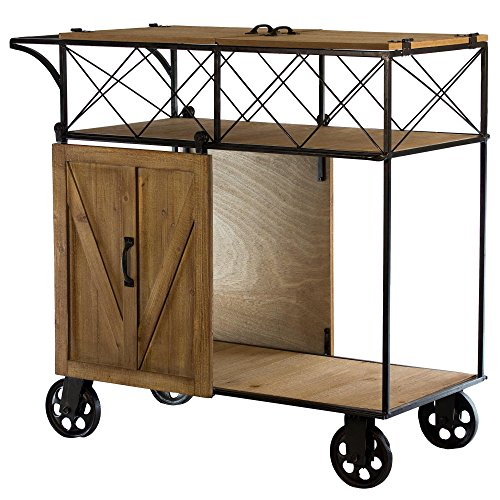 American Art Décor All Purpose Storage & Serving Bar Cart with Wheels and Sliding Barn Door - Farmhouse Décor (With Bar Cart Doors)