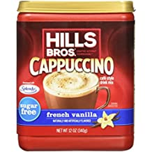 Hills Bros. Instant Cappuccino Mix, Sugar-Free French Vanilla Cappuccino Mix-Easy to Use, Enjoy Coffeehouse Flavor from Home-Frothy, Decadent Cappuccino Mix with 0% Sugar and 8g of Carbs (12 Ounces)