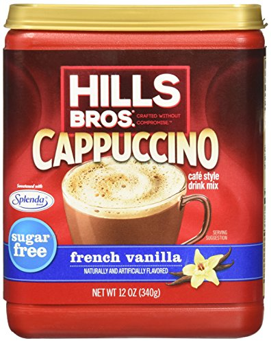 Hills Bros. Instant Cappuccino Mix, Sugar-Free French Vanilla Cappuccino Mix-Easy to Use, Enjoy Coffeehouse Flavor from Home-Frothy, Decadent Cappuccino Mix with 0% Sugar and 8g of Carbs (12 Ounces) ()