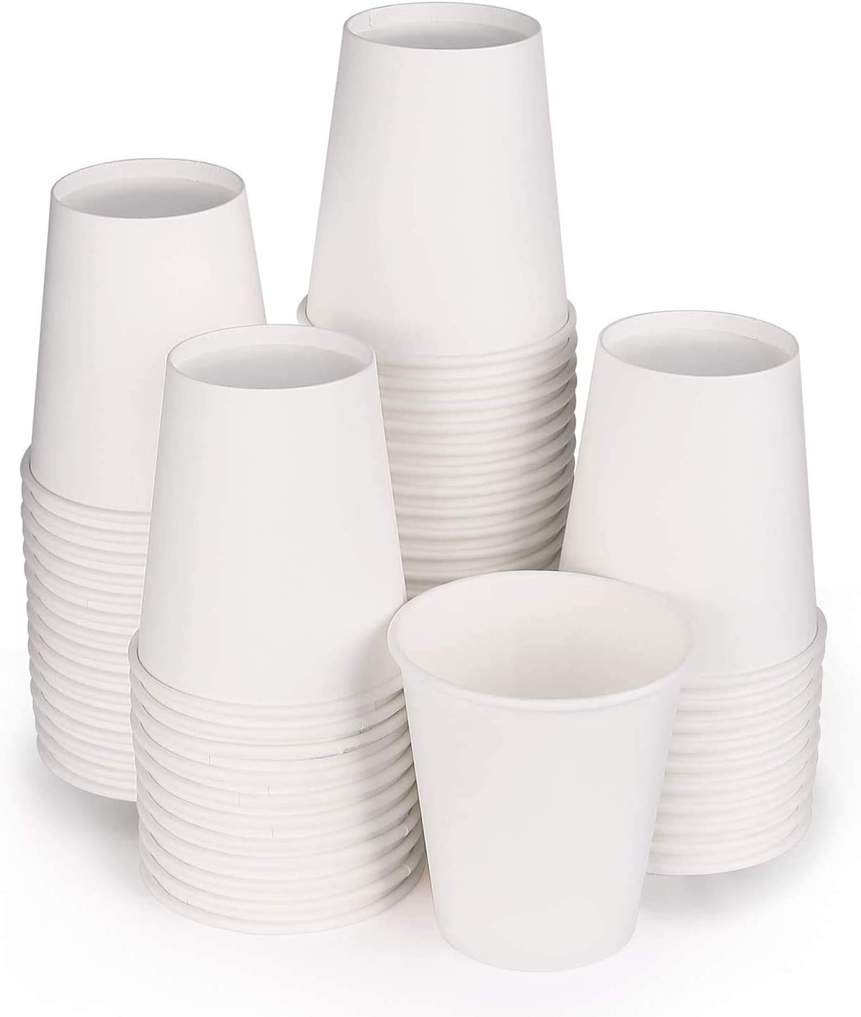 FULING 100 Count 8oz disposable paper cups, hot paper cups, white paper cups for On the Go Hot and Cold Beverage, Espresso, Bathroom Mouthwash, Coffee Cups