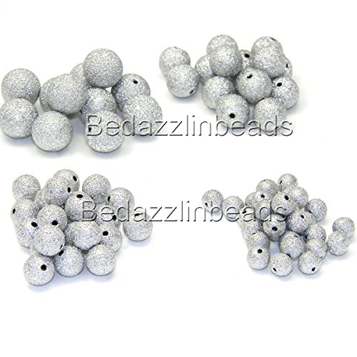 (50 Silver Plated Aluminum Round Textured Stardust Beads With Glitter Foil Look (6mm))