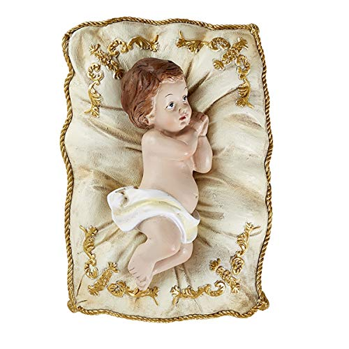 Infant Baby Jesus On White Pillow Resin Christmas Figurine, 5 Inch