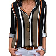 Women's V Neck Stripes Roll up Sleeve Button Down Blouses Tops