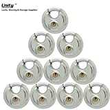 10 Stainless Steel Disc Padlock 2-3/4'', KEYED Differ, 8010x10