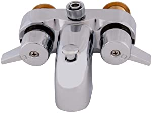 EZ-FLO 11129 Two-Handle Add-On Shower Diverter Bathcock, 3-3/8-inch Centers, 3/4-inch MIP inlet, Chrome