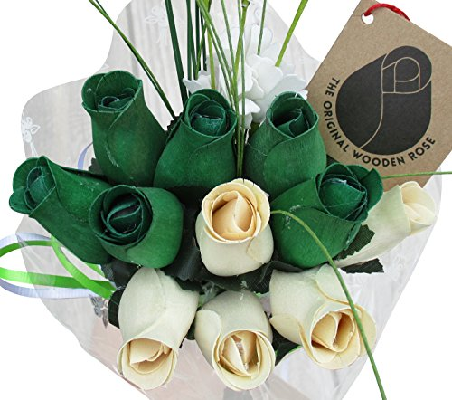 - St. Patrick's Day Green and White Flower Bouquet The Original Wooden Rose Closed Bud Roses (1 Dozen)