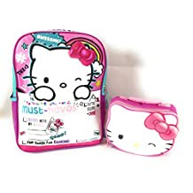 """Hello Kitty 16"""" Backpack Insulated Lunch Box Pink Bow 3D Mesh Pockets Padded Shoulders Reflective Strips Combo 2 Piece Set"""