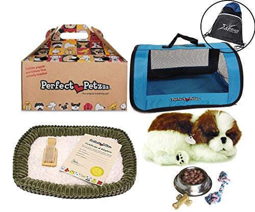 Perfect Petzzz Shih Tzu Plush Blue Tote Plush Breathing Pet Dog Food, Treats Chew Toy Myriads Drawstring Bag (Shih Tzu Bone)