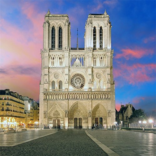 CSFOTO 4x4ft Background for Notre Dame Cathedral at Dusk in Paris Photography Backdrop Famous Landmark Gothic History Architecture Vacation Journey Tour Resort Photo Studio Props Polyester Wallpaper