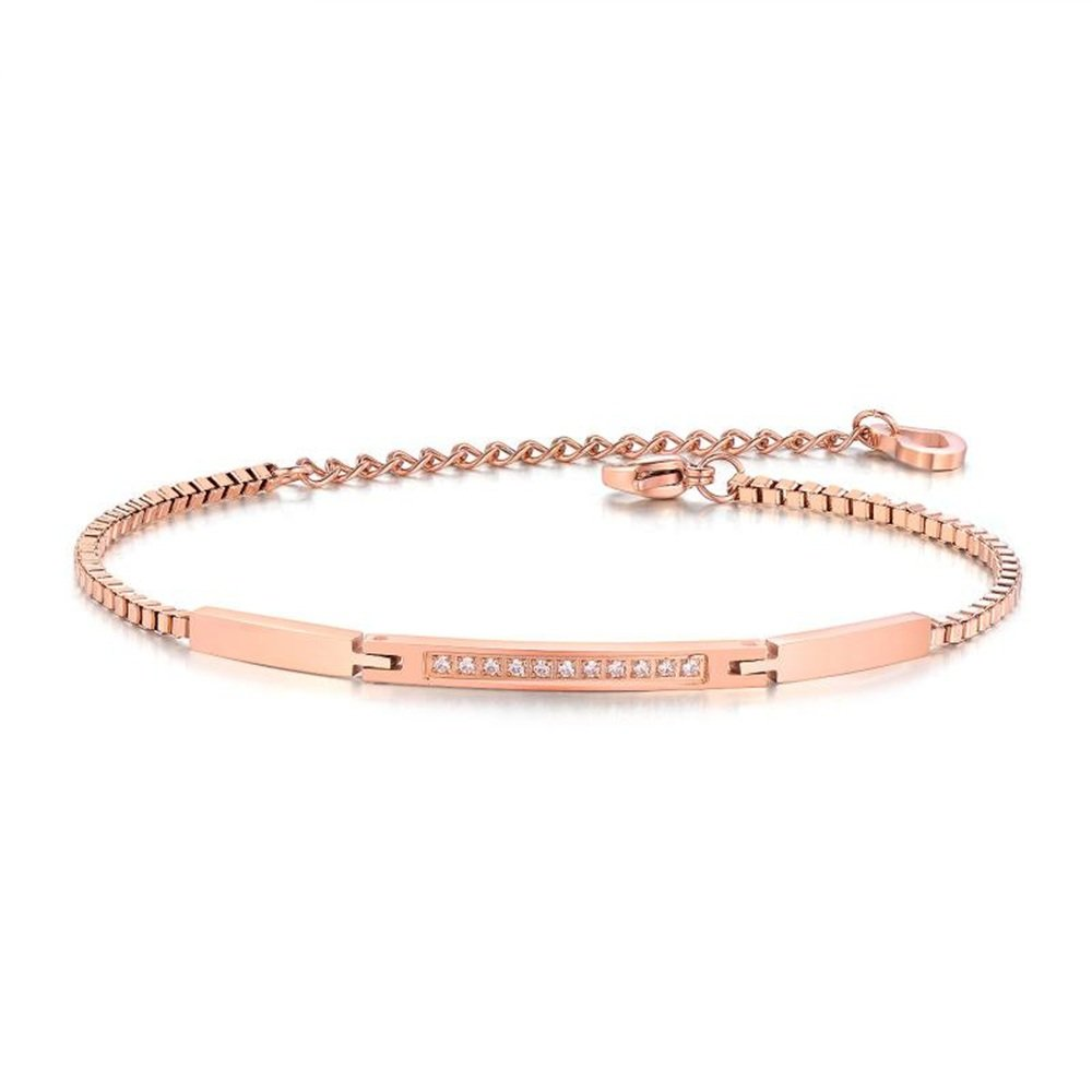 JolieHome Rose Gold Rhinestone Crystal Bracelet Link Bracelet Adjustable Chain Birthday and Wedding Gift