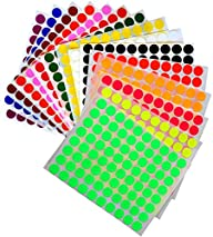 "KIDS colored round dots ½ "" inch (0.5 ) art crafts and games Stickers 1280 PACK 15 colors 16…"