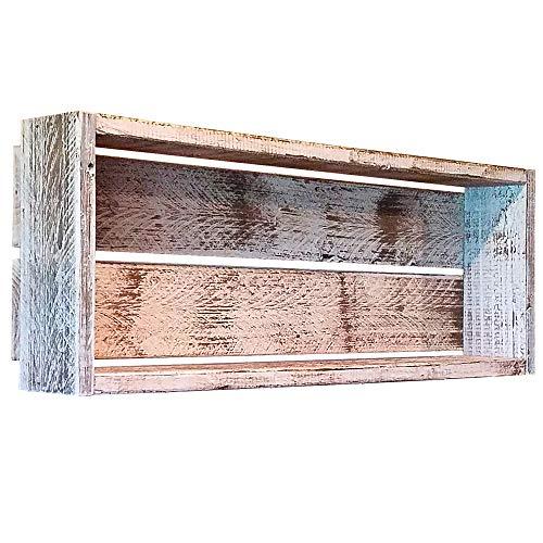 myVintageFinds Box Shelf, Rustic Bathroom Shelf, Decorative Rustic Wall Shelf, Authentic Distressed Whitewash, Made In The USA