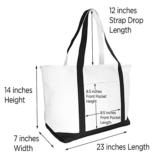 DALIX Premium Women's Tote Bags Large Tote Bag Personalized Gifts Black W