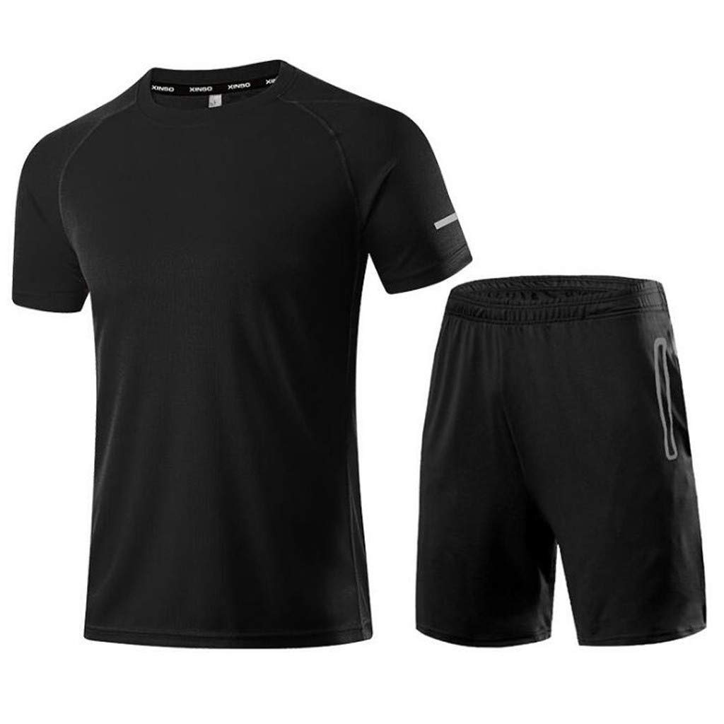Mens Short SleeveSummer Activewear Short Sleeve Tops and Short Pants Tracksuit