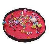 VAlink 60inch Toy Storage Bag, Portable Large Storage Bag, Children's Dolls Play Mat, Multi Purpose Kid's Activity Mat,Travel Picnic Mat Pouch, Organizer Storage Rug - Red