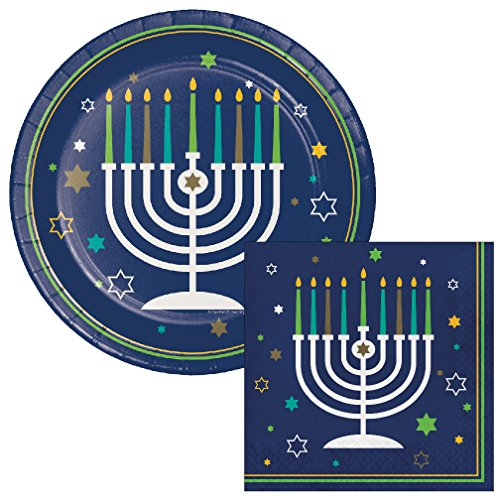 Hanukkah Icons Lunch Napkins & Plates Party Kit for 8