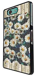 438 - Wood Effect Cool Daisy Floral Design For Sony Xperia Z3 Compact Fashion Trend CASE Back COVER Plastic&Thin Metal